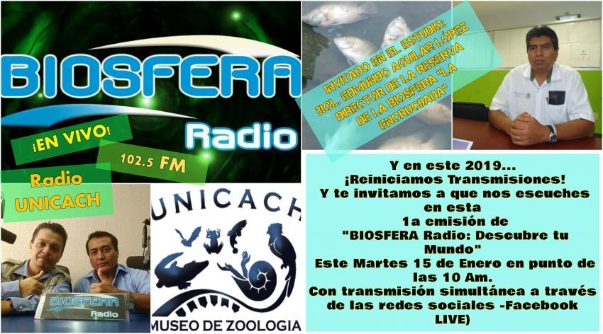 Reiniciamos transmisiones en BIOSFERA Radio: Martes 15 de enero 2019